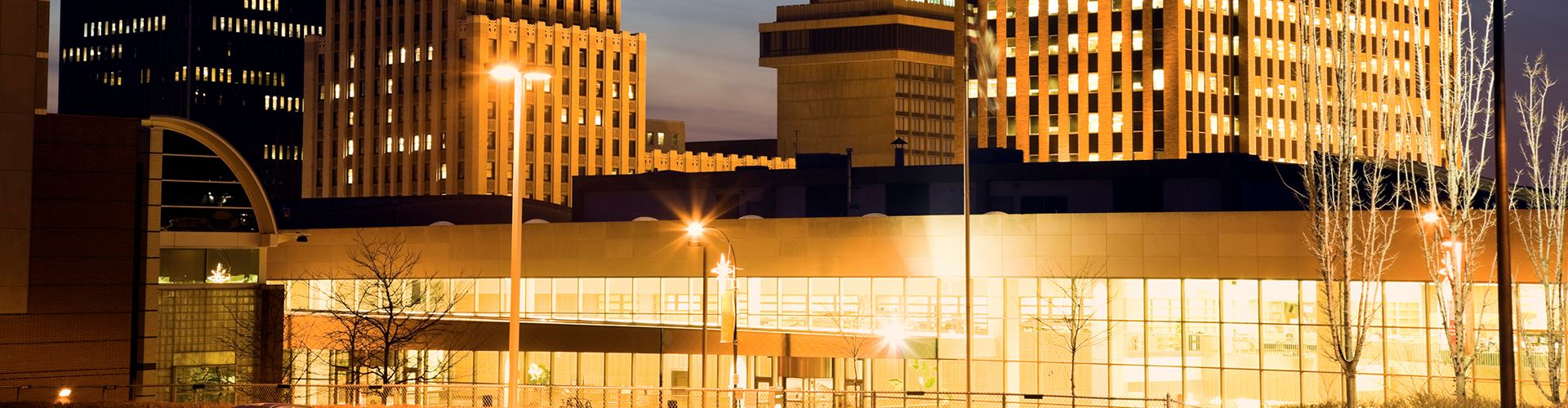 Evening view of buildings in downtown Akron, Ohio