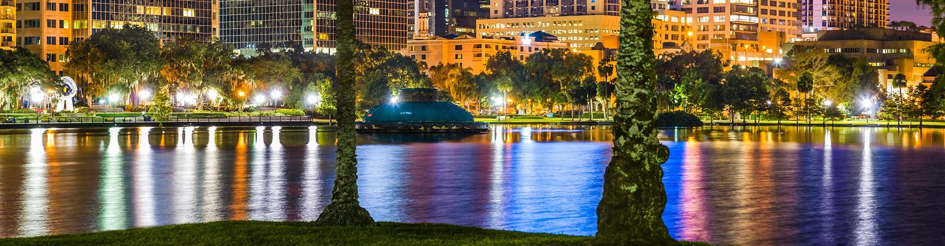 Lake Eola in downtown Orlando at night.