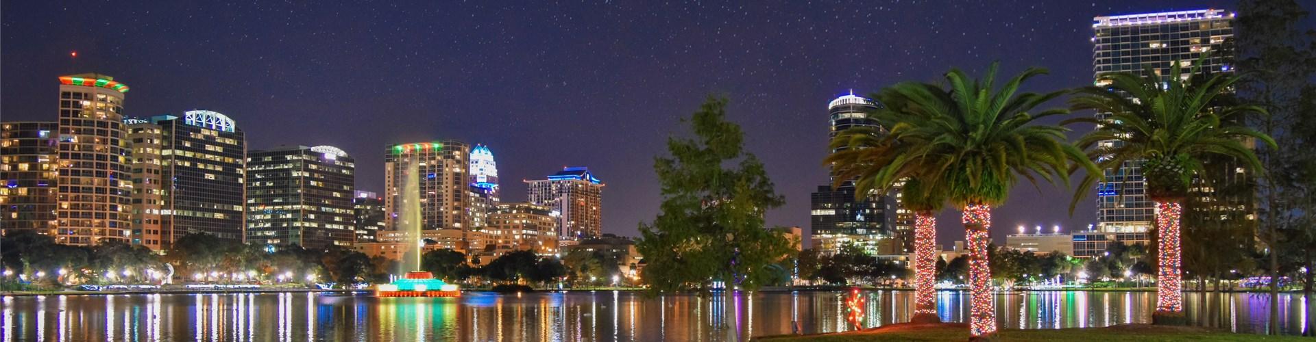 Downtown Orlando from Lake Eola Park at dusk